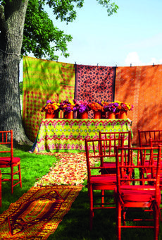 Bollywood Bacchanal - Ceremony Altars for Outdoor Weddings - Brides.com -Rose Petals from FiftyFlowers.com