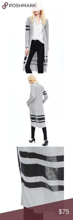 Banana Republic varsity maxi cardigan! This maxi cardigan from Banana Republic features a striped detail, button front, and V neckline. Knee length. True to size. In great condition! Banana Republic Sweaters