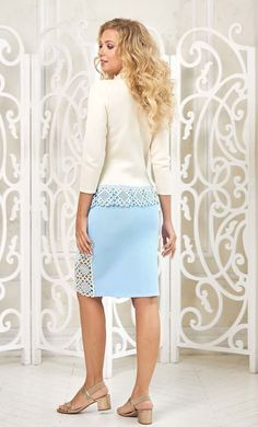 Handmade beautiful skirt set suit for women by Olesya Masyutina. Blue and white knitted suit consists of a jacket with buttons and a pencil skirt. 800 models of knitted and fabric women clothes in casual style, evening and wedding.