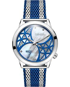BREEZE Chatoyant Series Three Hands 42mm Two Tone Blue Stainless Steel Mesh Bracelet 710821.3