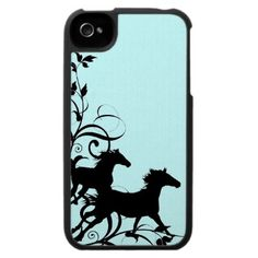 Black Wild Horses Iphone 4 Cases by PaintingPony