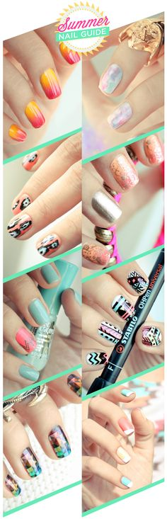 More Design Please - MoreDesignPlease - Summer Nail Guide. This person got all these designs from this one blog: http://pshiiit.com/category/nail-art/ This blog has LOADS of cool designs! Note: The blog is in french.