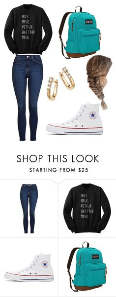 """Andrea Inspired"" by bethany-franco on Polyvore featuring Topshop, Converse, JanSport and Bloomingdale's"