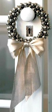 Jingle Bell Christmas Wreaths - These are so pretty and versatile as well as fun easy to make - Jingle Bell Ring by Martha Stewart.x white christmas,breakfast and brunch Christmas Wreaths To Make, Christmas Bells, Holiday Wreaths, White Christmas, Merry Christmas, Christmas Crafts, Christmas Decorations, Holiday Decor, Elegant Christmas
