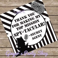 Spy Agent Party Favor Tags Printable Spy Birthday Party Instant Download