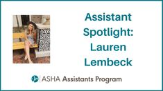 Meet this month's assistant spotlight: Lauren Lembeck! Lauren is currently in grad school to become an SLP. She loves being able to interact and improve the overall lives of students who struggle with communication disorders. Hi, Lauren! Speech Language Pathology, Speech And Language, Private Practice, Clinic, Love Her, Communication, Student, School, Life