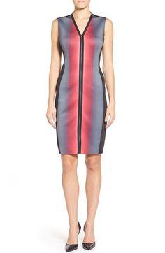 T Tahari 'Avani' Front Zip Sleeveless Scuba Sheath Dress available at #Nordstrom