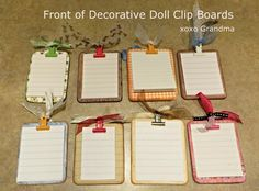 A tutorial on how to make decorative doll clip boards.  Perfect size for American Girl Dolls. http://xoxograndma.blogspot.com/2013/10/decorative-doll-clip-boards.html