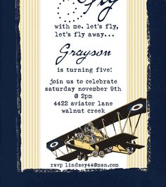 Vintage Airplane Invitation set of 10 by theblueeggevents on Etsy, $19.00