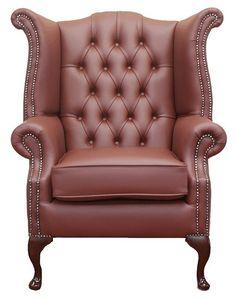 Burgandy Chesterfield Queen Anne Wing Chair   DesignerSofas4U
