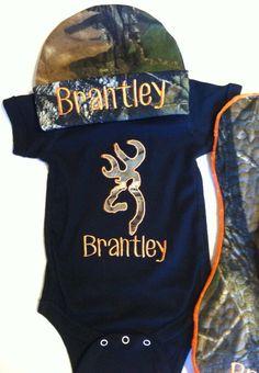 Newborn baby boy gift set camo personalized by SewSparklyByHeather