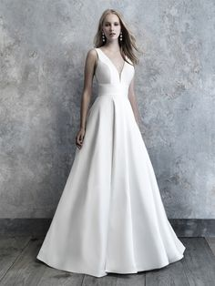 Shop the wonderful Madison James Soft Mikado A-Line Wedding Dress Wedding Dress today! Timeless soft Mikado is covered in nothing more than an endless row of elegant buttons down the train. Wedding Dress Pictures, Wedding Dress Styles, Designer Wedding Dresses, Bridal Dresses, Wedding Gowns, Bridesmaid Dresses, Designer Gowns, Wedding Bells, Wedding Photos