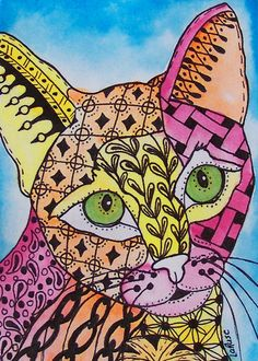 ACEO Le Print Cat Kitten Doodle Pet Portrait Animal Zentangle Larusc | eBay