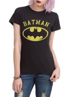 Batman Distressed Logo Girls T-Shirt   Hot Topic