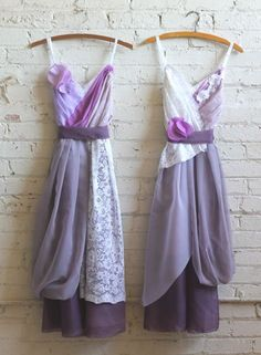 purple and lavender bridesmaids dresses by Armour sans Anguish