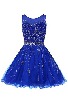 Tidetell.com Classical Scoop A-line Knee Length Tulle Royal Blue Homecoming Dress With Beading