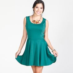 rust/green (M): Back Button Dress