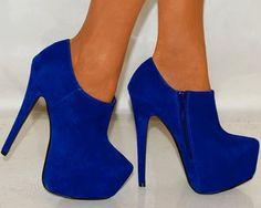 Lacivert bilekten topuklu ayakkabı