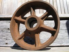 Vintage heavy duty cast iron metal cart wheel industrial salvage machine pully on Etsy, $26.00
