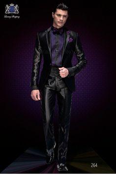 Italian fashion black purple pinstripes wedding suit. Peak lapel with bias binding and 1 button.
