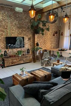 Brick Interior, Home Interior Design, Brick Wall Interiors, Interior Architecture, Brick Room, Brick Wall Tv, Living Room Brick Wall, Home Living Room, Living Room Decor