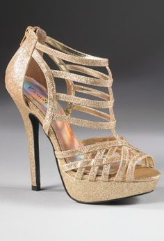 Shoes - High Heel Glitter Sandal from Camille La Vie and Group USA gold prom
