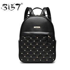 b9ac0b28497d women leather backpack black fashion rivet school bags for teenagers girls  designer waterproof small female backpacks