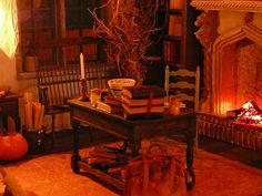 a warm fire and a cool stone hearth. Another Harry Potter room--a bit more Gothic than Steampunk, but I like the desk and the bench.