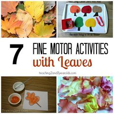 Build fine motor skills with toddlers and preschoolers in the fall with these leaf ideas! Teaching 2 and 3 Year Olds