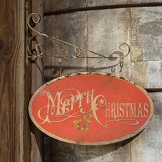 "A beautiful bracket suspends this metal sign for all to see the vintage graphics and Christmas message. Welcome your guests with our Bracket and Merry Christmas Metal Sign. The old school red and holly decorations make this rustic Merry Christmas sign a real beauty and will be a festive addition to your holiday decorating.  Made of metal. Sign is 2-sided. Dimensions of sign alone: 24"" x 13.5"" H. Dimensions (with bracket): 24"" x 2"" x 27"" H."
