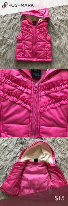 Faded Glory hooded vest Faded Glory hooded pink vest. Comes in size 18m. Really cute and keeps little one cozy. Faded Glory Jackets & Coats Vests