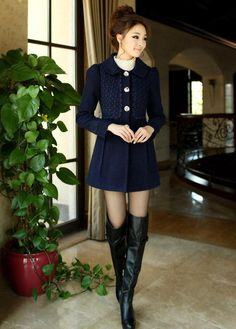 High Quality Woolen Coats with Fur Neck- Navy Blue