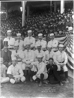 Pictured, the opening day of the League's Baseball season with the baseball players/team, and spectators. New York vs Boston, During America's Gilded Age, in NY. Baseball League, Baseball Season, Baseball Players, New York Knickerbockers, Lou Gehrig, America's Pastime, Shakespeare Plays, Happiness Project, Babe Ruth