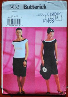 Butterick 3863 - Top and 8-gore skirt, or princess-seam sheath dress. Boat neck. (2003, no longer in print)
