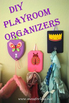 DIY Playroom Organizers - My kids made this and they have helped to keep dress up clothes off the floor and organized.
