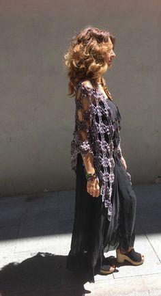 Chal crochet Hippy, Kimono Top, Bohemian, Etsy, Women, Style, Fashion, Vestidos, Crochet Shawl