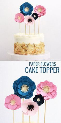Easy Paper Flowers Cake Topper - Pretty Providence How to make a Paper Flower Cake Topper<br> This easy DIY cake topper with paper flowers is an easy cake decorating idea everyone should try. Perfect for a birthday cake, Mother's Day or baby shower! Flower Cake Toppers, Diy Cake Topper, Birthday Cake Toppers, Cupcake Toppers, Cake Birthday, 7th Birthday, Birthday Parties, Cricut Cake, Birthday Cake With Flowers