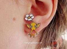 Pikmin clinging earrings  two part front and back kawaii gamer  earrings