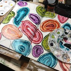 I'm loving al the #colour on this #artjournal page. .@thestromboshow #art #agate #sundayinthestudio @strombo