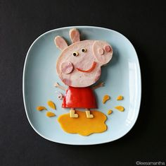 Got a picky eater at home? Try making food art ... this Peppa Pig is our fave (but there are a ton of other ideas too).