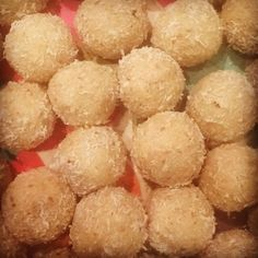 Protein Bliss Balls...1 cup vanilla protein powder, 1 cup tahini, 1 cup honey/maple syrup, 1 cup desiccated coconut & 1 cup almond meal, rolled in coconut. Vegan, gluten free, dairy free & refined sugar free! http://livsapothecary.co.nz/protein-tahini-balls/