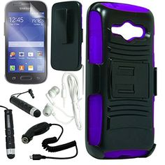 nice [ARENA] BLACK PURPLE HYBRID H STAND COVER FITTED BELT CLIP HOLSTER CASE for SAMSUNG GALAXY AVANT G386 + FREE ARENA ACCESSORY KIT