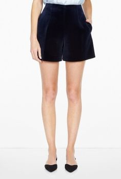 Navy Velvet Shorts by by Carven RTW Pre