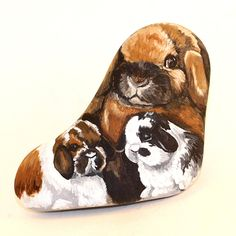 Rabbit painting, painted rocks, Easter gift idea, rabbits painted on rock, holland lop rabbits, garden decor, rabbit collectible, rabbit art by PetRocksbyTheresa on Etsy