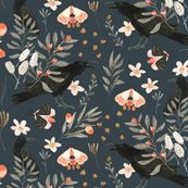 Black Crows and Butterflies custom wallpaper by katherine_quinn for sale on Spoonflower Custom Wallpaper, Bedroom Wallpaper, Tree Tops, Perfect Wallpaper, Cotton Twill Fabric, In The Tree, Fashion Fabric, Textured Walls, Surface Design