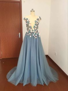 Cheap Prom Dresses, Formal Dresses, Grey Prom Dress, Tulle Lace, Cap Sleeves, Fashion, Dresses For Formal, Moda, Formal Gowns