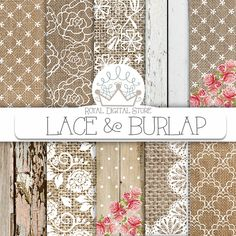 "Burlap Lace Digital Paper:""Burlap Lace Digital Paper"" with brown burlap background, white lace background, burlap lace texture, wood texture - chic decor diy scrapbook paper"