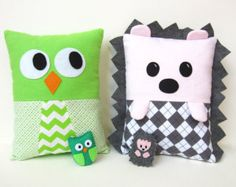 Sewing Pattern Hedgehog Owl Pillows PDF Kawaii Tutorial includes stuffed felt Baby Owl and Hedgehog instructions with Instant Download