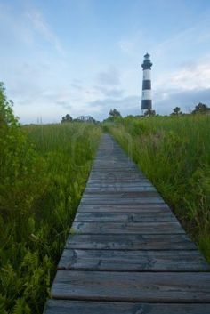 Boardwalk through swamp leading to Bodie Island Lighthouse, on the outer banks of North Carolina