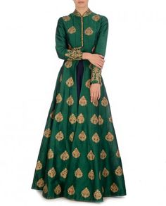 Golden Embroidered Forest Green Jacket with Navy Dress - SVA By Sonam & Paras Modi